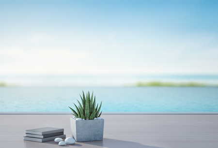 Sea view swimming pool and terrace in luxury beach house with blurred sky background, Books near plant on wooden floor at vacation home or hotel, 3d illustration of tourist resort 스톡 콘텐츠