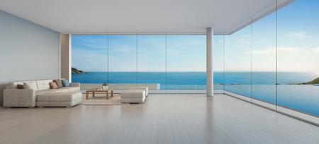 Großes Sofa auf Bretterboden nahe Glasfenster und Swimmingpool mit Terrasse an der Penthousewohnung, Aufenthaltsraum im Seeansichtwohnzimmer des modernen Luxusstrandhauses oder -hotels - Hauptinnen 3d Illustration Standard-Bild