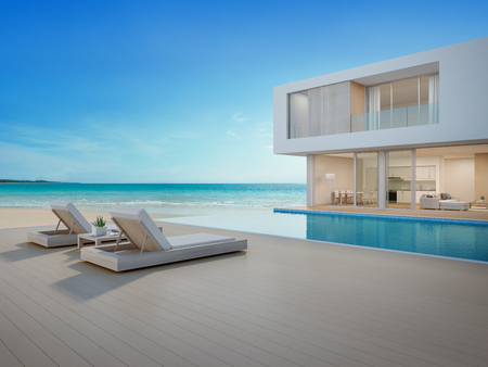 Luxury beach house with sea view swimming pool and terrace in modern design Lounge chairs on wooden floor deck at vacation home or hotel - 3d illustration of contemporary holiday villa exterior