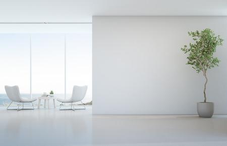 Planta interna no chão branco com fundo vazio parede de concreto, sala de estar e mesa de café perto da janela de vidro na sala de estar vista mar de casa de praia de luxo moderno ou hotel - home interior 3d ilustração