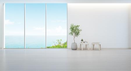 Zimmerpflanze auf Bretterboden und minimalen Möbeln mit leerem weißem Wandhintergrund, Aufenthaltsraum im Seeansichtwohnzimmer des modernen Luxusstrandhauses oder Hotel - Illustration des Ausgangsinnenraums 3d
