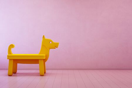Yellow toy dog on wooden floor in kids room of modern house with empty pink concrete wall background - Home interior 3d illustration
