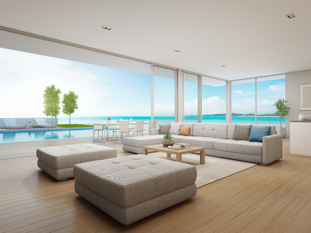 Outdoor dining and sea view living room of luxury beach house with terrace near swimming pool in modern design. Vacation home or holiday villa for big family. Interior 3d illustration.