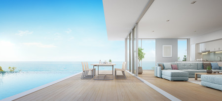Outdoor dining and sea view living room beside kitchen of luxury beach house with terrace near swimming pool in modern design. Vacation home or holiday villa for big family. Interior 3d illustration.