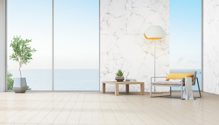 Sea view living room of luxury beach house with indoor plant near glass window. Armchair and coffee table against white marble wall in vacation home or holiday villa. Hotel interior 3d illustration.
