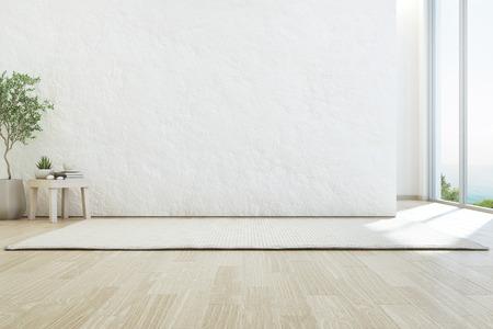 Sala de estar con vista al mar de la lujosa casa de playa de verano con ventana de vidrio y piso de madera. Fondo de muro de hormigón blanco rugoso vacío en casa de vacaciones o villa de vacaciones. Ilustración 3d del interior del hotel.