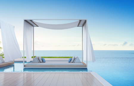 Luxury beach house with sea view swimming pool and terrace in modern design, Lounge near empty wooden floor deck at vacation home or hotel - 3d illustration of contemporary holiday villa exterior