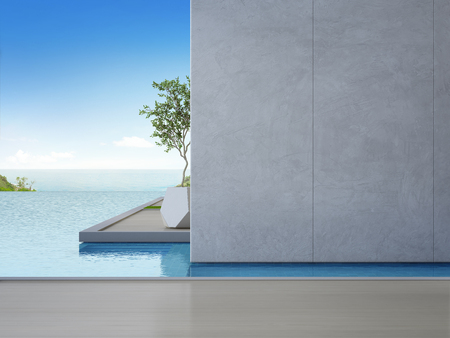 Empty wooden floor with concrete wall background in luxury beach house. Plant on terrace near sea view swimming pool at vacation home or hotel - 3d illustration of contemporary holiday villa exterior