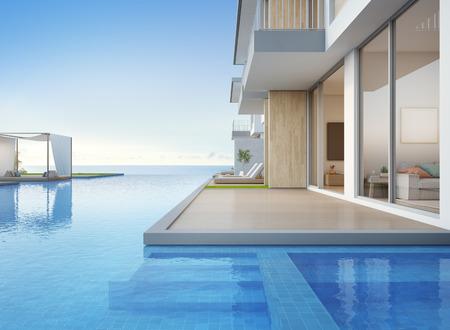 Luxus-Strandhaus mit Meerblick-Swimmingpool und leerer Terrasse in modernem Design, Liegestühle auf Holzboden im Ferienhaus oder Hotel - 3D-Darstellung des zeitgenössischen Äußeren der Ferienvilla