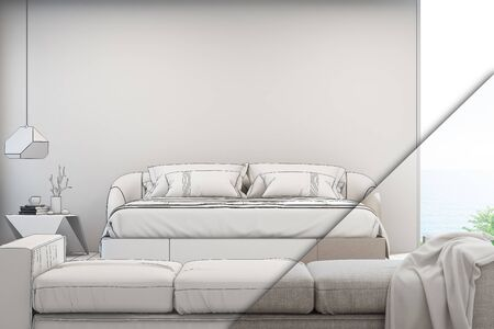 Sea view living room and bedroom of luxury summer beach house with sofa near double bed. Empty white concrete wall background in vacation home or holiday villa. Hotel interior 3d illustration. Stock fotó