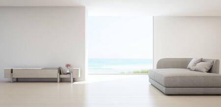 Sea view living room of luxury summer beach house with TV stand and wooden cabinet. Empty white concrete wall background in vacation home or holiday villa. Hotel interior 3d illustration.