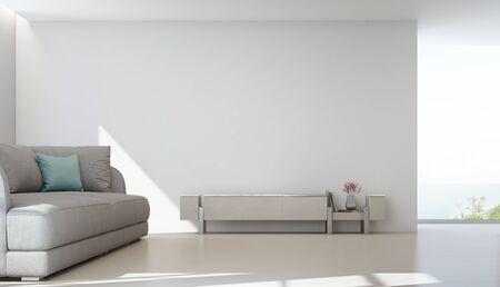 Sala de estar con vista al mar de la lujosa casa de playa de verano con soporte para TV y mueble de madera cerca de un sofá grande. Fondo de pared blanca vacía en casa de vacaciones o villa de vacaciones. Ilustración 3d del interior del hotel. Foto de archivo