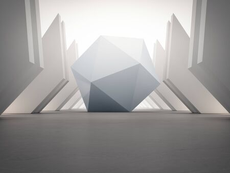 Geometric shapes structure on empty concrete floor with white wall background in hall or modern showroom. Construction technology for future architecture. Abstract interior design 3d illustration. Stock fotó
