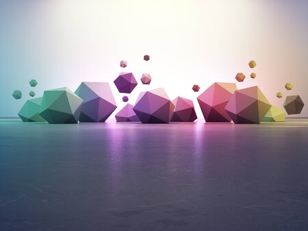 Rainbow geometric shapes on gray concrete floor with gradient wall background in hall or modern showroom. 3d illustration of abstract interior design for future architecture.