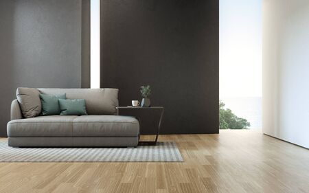 Sea view living room of luxury beach house with sofa on wooden floor. Black concrete wall background in vacation home or holiday villa. Hotel interior 3d illustration. 免版税图像