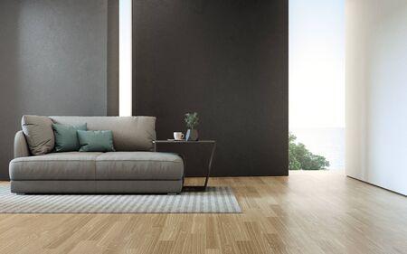 Woonkamer met zeezicht van luxe strandhuis met bank op houten vloer. Zwarte betonnen muur achtergrond in vakantiehuis of vakantievilla. Hotel interieur 3d illustratie.