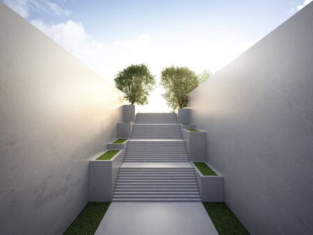 Empty concrete wall and floor in city park. 3d rendering of outdoor stairs with blue sky background.