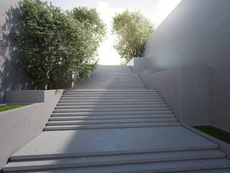 Empty concrete wall and floor in city park. 3d rendering of outdoor stairs with sunny sky background.