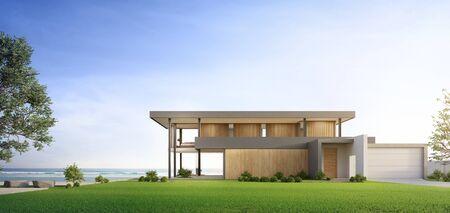 Casa de playa de lujo con piscina con vista al mar y terraza de diseño moderno. Césped de hierba verde vacía en casa de vacaciones. Ilustración 3d del exterior de la villa de vacaciones contemporánea. Foto de archivo