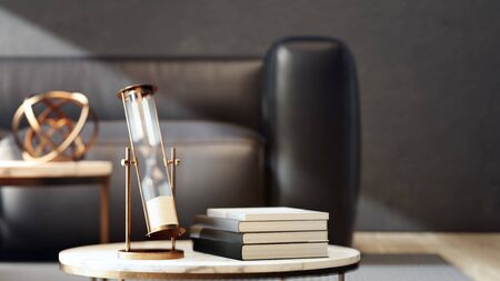 3d illustration of hourglass near books on marble coffee table with black sofa and dark concrete wall background. Living room in luxury house or hotel lobby.