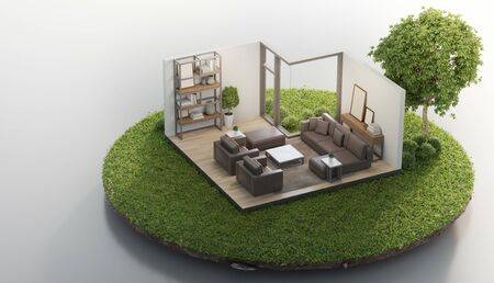 Living room near big tree on tiny earth land with green grass in real estate sale or property investment concept. Isometric low poly part of house 3d rendering.