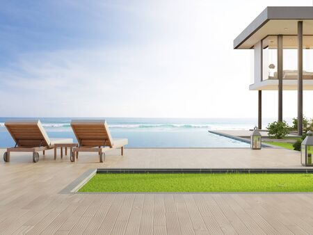 Luxuriöses Strandhaus mit Meerblick-Pool und Terrasse in modernem Design. Liegestühle auf Holzboden im Ferienhaus oder Hotel. Illustration 3d des zeitgenössischen Ferienlandhausäußeren.