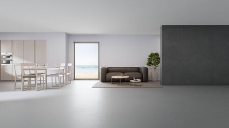 Sea view kitchen, dining and living room of luxury beach house in modern design. Vacation home for big family. Hotel interior 3d illustration. 版權商用圖片