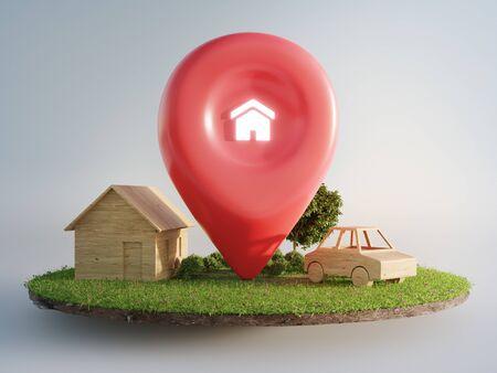 Símbolo de la casa con el icono de pin de ubicación en la tierra y la hierba verde en la venta de bienes raíces o el concepto de inversión inmobiliaria. Compra de terreno para nuevo hogar. Ilustración 3D de gran cartel publicitario. Foto de archivo