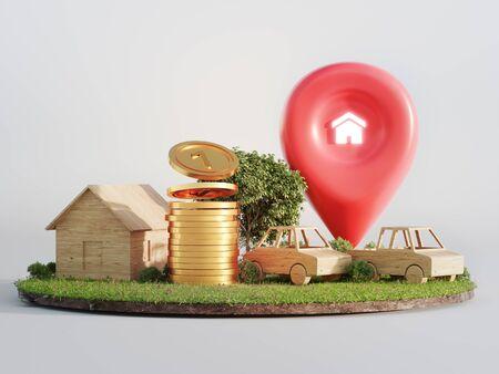 Símbolo de la casa con el icono de pin de ubicación en la tierra y la hierba verde en la venta de bienes raíces o el concepto de inversión inmobiliaria. Compra de terreno para nuevo hogar. Ilustración 3D de gran cartel publicitario.