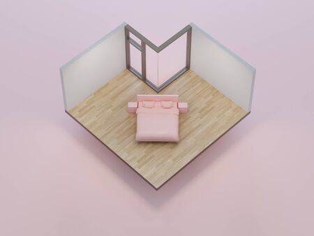 Pink bed on heart shape bedroom in love and sweet home concept. Isometric part of house 3d rendering.