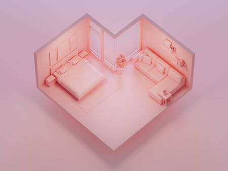 Pink bed and sofa on heart shape bedroom in love or sweet home concept. Isometric part of house 3d rendering. 写真素材