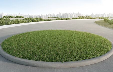 Empty grass on concrete floor in smart city. 3d rendering of outdoor space and future architecture with clear sky background.