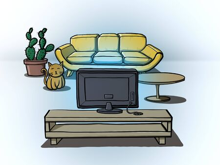 Living room of modern house. TV on cabinet against sofa in home or apartment. Hotel interior digital illustration.