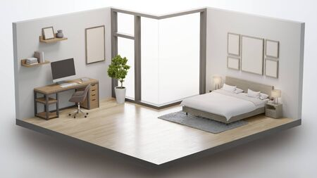 Home office with working table and bedroom in real estate sale or property investment concept. Isometric low poly part of house 3d rendering. 写真素材