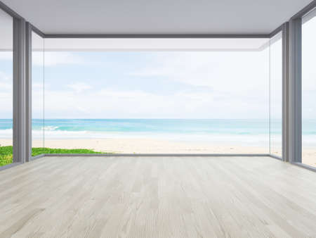 Sea view large living room of luxury summer beach house with big glass window and wooden floor. Interior 3d illustration in vacation home or holiday villa. Banque d'images