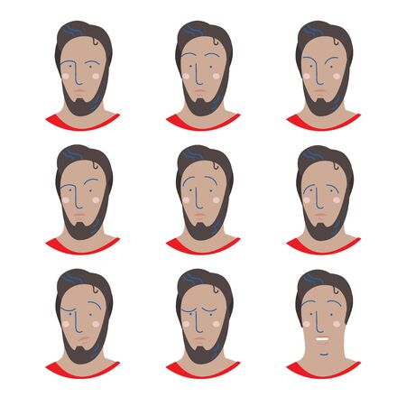 Set of male facial emotions. Man emoji character with different expressions. Stock Photo