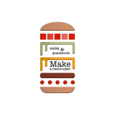 Schematic depiction of ingredients for a hamburger Vector illustration. Vettoriali
