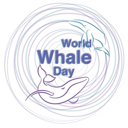 World Whale Day of Two whales on a white background.