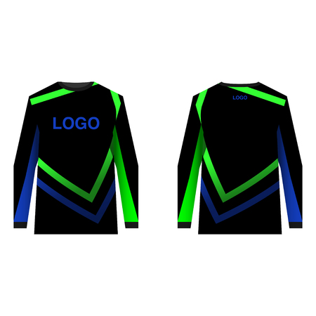 Jersey design for extreme cycling. Mountain bike jersey. Editable vector illustration for sublimation printing.
