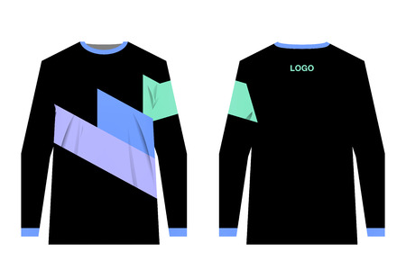 Jersey design for extreme cycling. Mountain bike jersey. Vector. Sublimation printing. Template. Black jersey with three colorful diagonals. Lavender, teal and blue stripes.