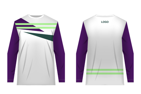 Jersey design for extreme cycling. Mountain bike jersey. Vector. Sublimation printing. Template. Minimalistic design. Deep purple, dark green, white and lime colors.