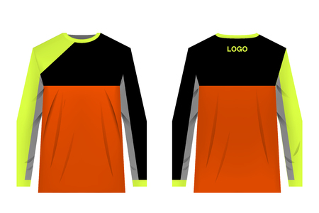Templates jersey for mountain biking. Jersey for motocross, extreme cycling, downhill. Sublimation print. Sportswear design. Design for competition, team wearing.