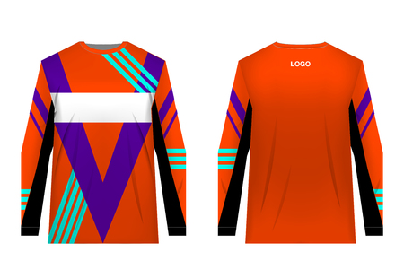 Design for sublimation print. Jersey for extreme sport. Sportswear for competition. Team or club uniform. Jersey for mountain bike, motocross, cycling, downhill. Sportswear concept, templates. Banco de Imagens - 114839320