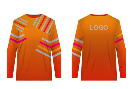 Templates of sportswear designs for sublimation printing. Uniforms for competitions, team games, corporate style, advertising campaigns. Jersey for motocross, mountain biking. Banco de Imagens - 105480233