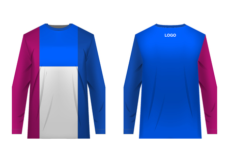 Templates of sportswear designs for sublimation printing. Uniforms for competitions, team games, corporate style, advertising campaigns. Jersey for motocross, mountain biking. Banco de Imagens - 105480292