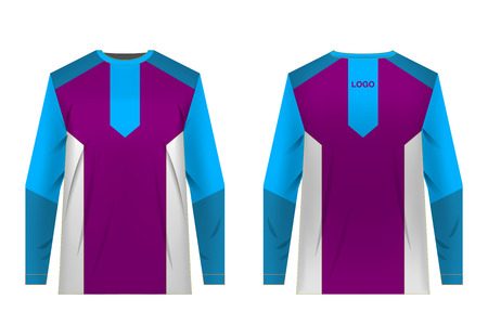 Templates of sportswear designs for sublimation printing. Uniforms for competitions, team games, corporate style, advertising campaigns. Jersey for motocross, mountain biking. Banco de Imagens - 105480299