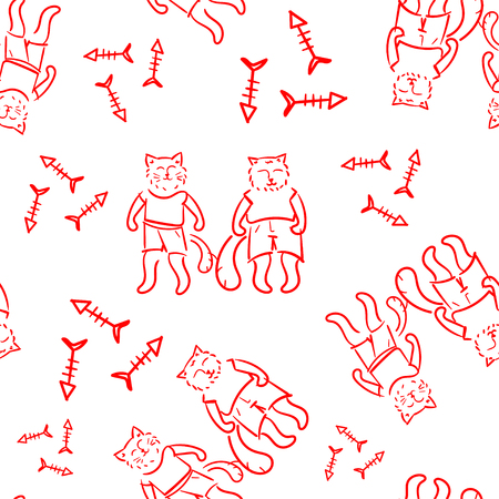 Seamless pattern with cute cats. Pet animal vector illustration. Pattern for products for children. Red line illustration. Doodle style.