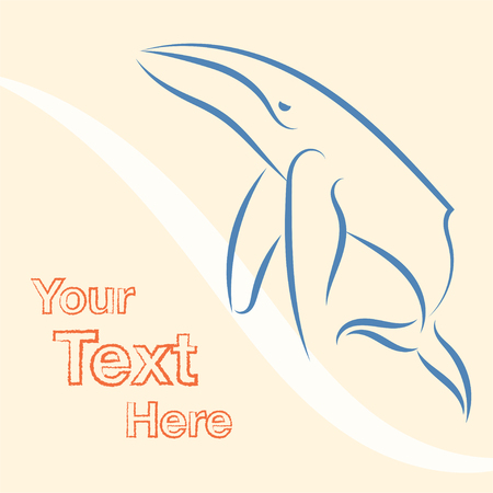 Vector illustration with whale. Sea poster design on white background with sailing whale.