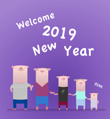 New Year 2019 postcard. Chinee year of the pig. Postcard with funny piglet family. Colorful vector illustration in flat style. Big family on a violet background.