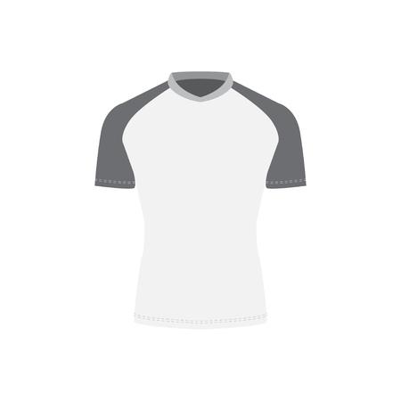 Rashguard template design. Long sleeves top. Vector illustration in grey tones.